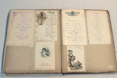 Lot including albums of old dinner menus from the end of the XIXth and beginning...