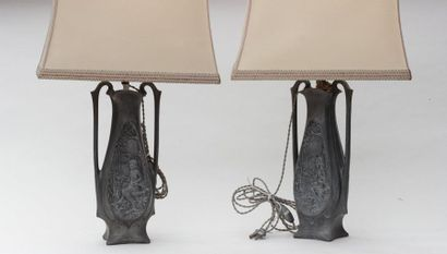 Pair of LAMPS, the feet made of two pewter...