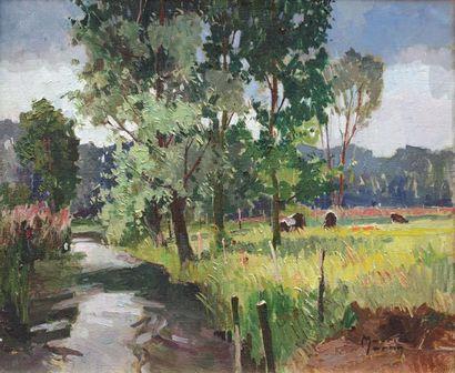 Maurice MARTIN (1894-1978) Bord de rivière Normandie. Huile sur toile signée en...