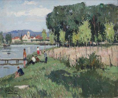 Maurice MARTIN (1894-1978) Vue de Saint Mammes...