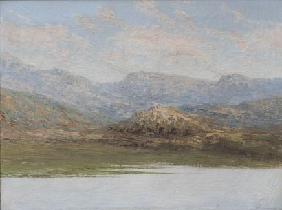 S. M. FRANCISCOVICH (c.1913/15-c.1955 Lake shore in the mountains Oil on canvas...