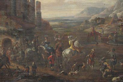 BREDAEL Pieter van (1629-1719)  école de La Halte des cavaliers parmi des ruine...