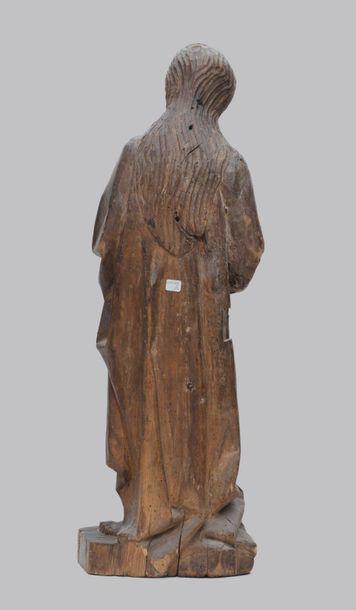 Saint en bois sculpté, travail XVIIIème siècle (manques) Haut. :