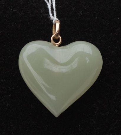 Coeur en pierre dure monté en pendentif
