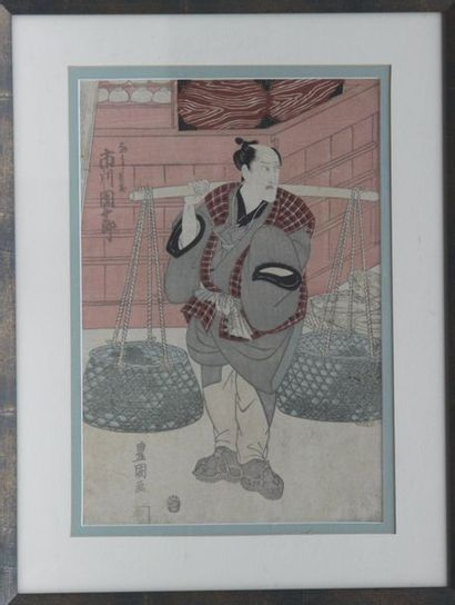 """KUNISADA? """"The peasant carrying baskets with a pendulum"""", and """"The samurai"""", two..."""