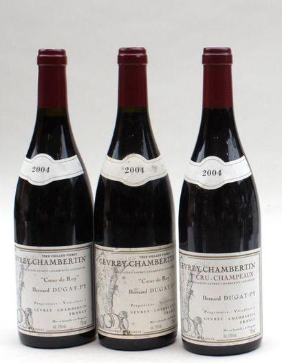 3 bout 1 GEVREY CHAMBERTIN 1ER CRU CHAMPEAUX DUGAT PY 2004, 2 CŒUR DE ROY 2004