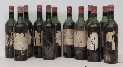 12 bout CHT LYNCH BAGES 1957 (ETIQ TRES ABIMEES,...