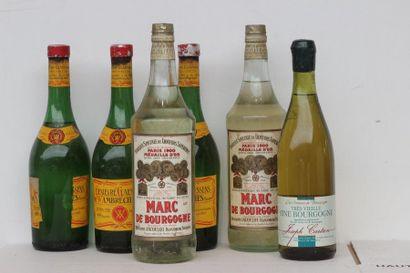6 bout ALCOOLS DIVERS : MARC, GENIEVRE, FINE...