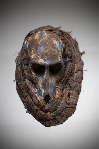 AFIKPO (Nigeria)  MASK consisting of a monkey skull decorated with polychrome touches...