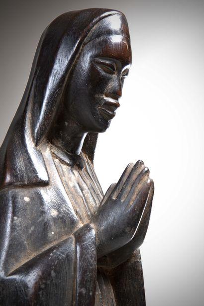 MAKONDE (Tanzanie/Mozambique)  Importante STATUE de La Vierge, les mains jointes....