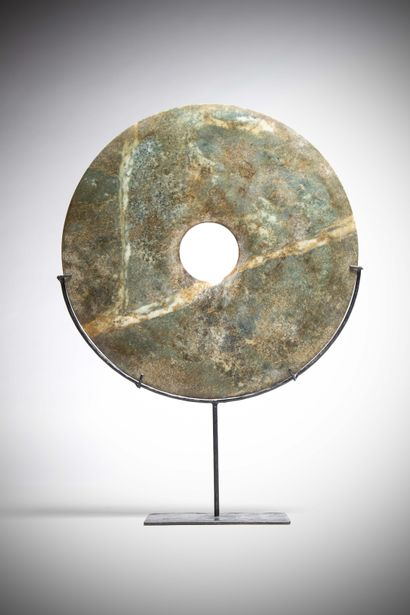 HUAN (Chine)  Grand DISQUE BI en néphrite...