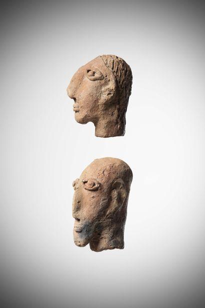 FALASHA (Ethiopia)  Two pinkish terracotta HEADS representing a bearded face of...