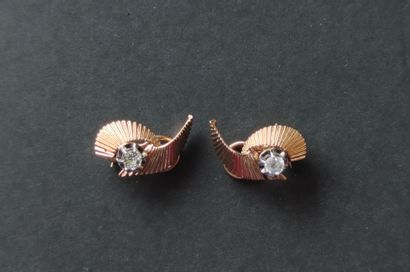 Pair of ear CLIPS in 750°/°°° yellow gold...