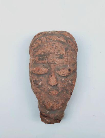 Clay Janus Head and Terracotta Head, Koma...