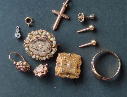 Batch of gold DEBRIS 750°/°° Gross weight:...