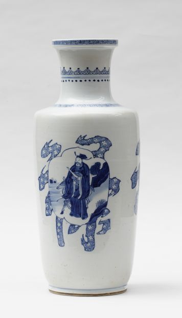 Porcelain vase with strangled neck and blue...
