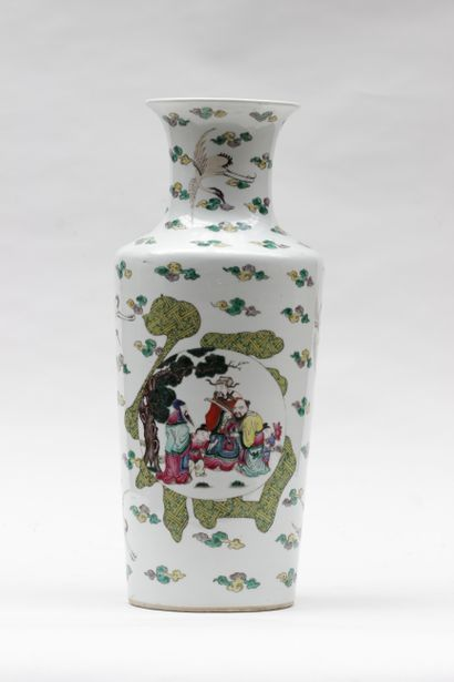 Porcelain vase with polychrome enamel decoration...