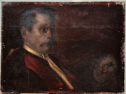19th CENTURY FRENCH SCHOOL PORTRAIT d MAN...