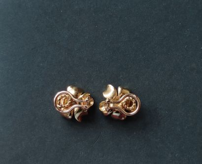Pair of ear CLIPS in 750°/°° yellow gold representing two flowers each set with...