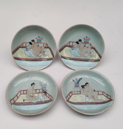 Suite of four COUPELLES in polychrome glazed...