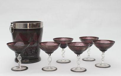 Set of six stemmed champagne glasses Coloured...