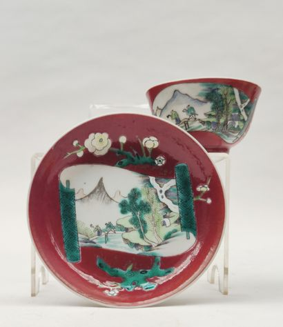 Bowl and its porcelain saucer with reserve...