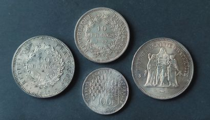 Four PIECES in silver : three at the Hercules...