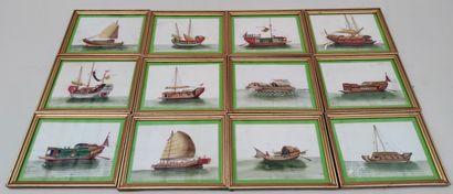 Set of twelve miniature paintings on rice...
