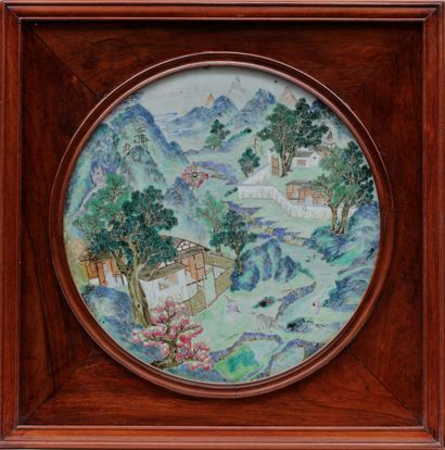 ROUND PLATE in polychrome enamelled porcelain...