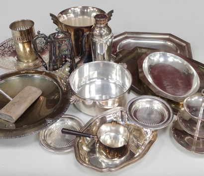 Set of silver plated metal plates and shaped...