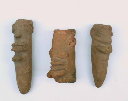 Set of three Koma terracotta HEADS, Northern...