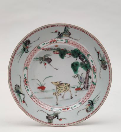 Pair of porcelain PLACES with polychrome...