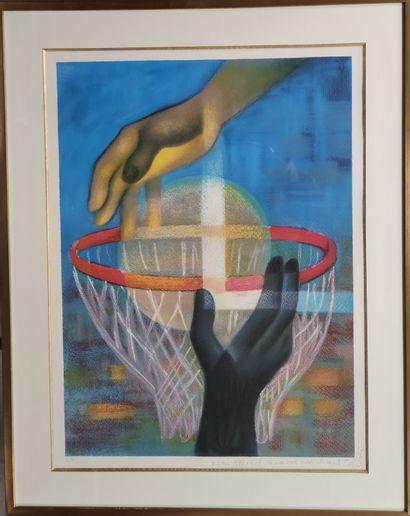 TOFFOLI Louis Partie de basket Lithographie...