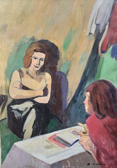 JOUBIN GEORGES (1888-1983) Deux femmes conversant...
