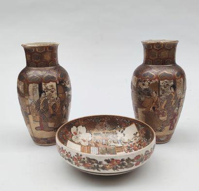 JAPAN, SATSUMA, Pair of small vases and...
