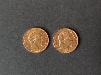 Deux PIECES de 20 Francs or Napoléon III...