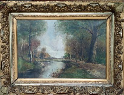 PIRON (circa 1900) Walker by the pond in...