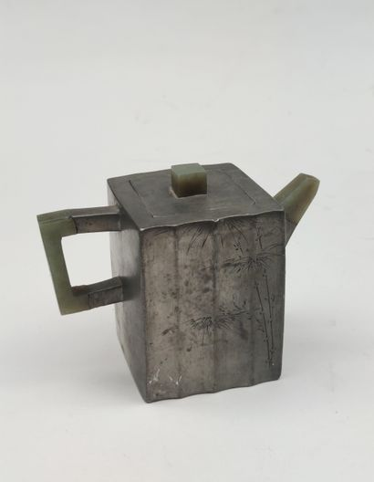 Pewter teapot with square section decorated...