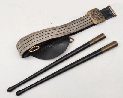 Pair of drumsticks and drum belt