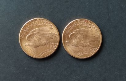 Two PIECES of 20 gold dollars USA Saint Godens 1924 and 1925 Selling expenses: 10%...