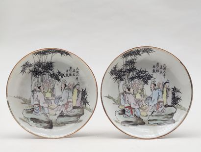 Pair of small hollow PLACES in polychrome...