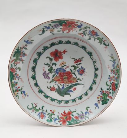 Large hollow PLATE in polychrome enamelled...