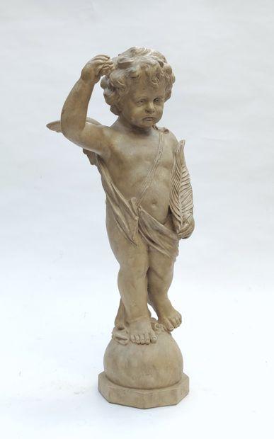 Terracotta STATUTE representing a cherub,...