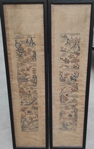 Two Embroideries on long fabrics with figures...