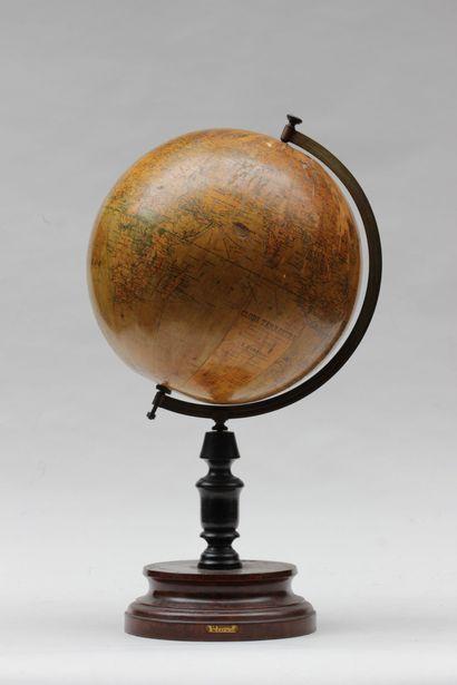 GLOBE terrestrial, on wooden stand (globe...