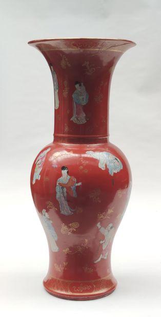 Porcelain baluster-shaped VASE decorated...