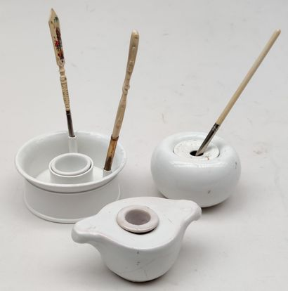 MISCELLANEOUS Three plain white porcelain...