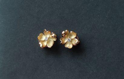Paire de CLIPS d'oreilles en or jaune 750°/°°...