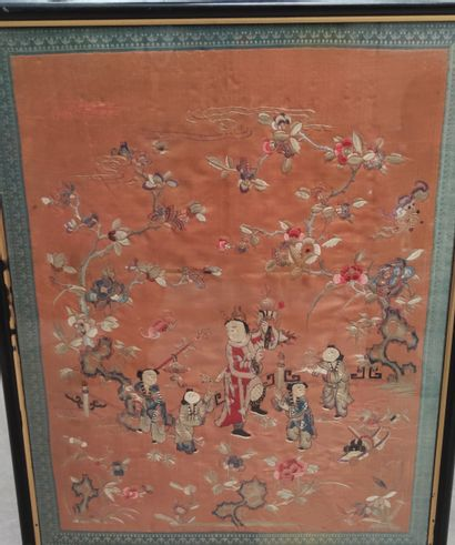 Embroidery on fabric representing a dancer...