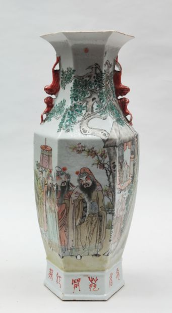 VASE with hexagonal section in polychrome...